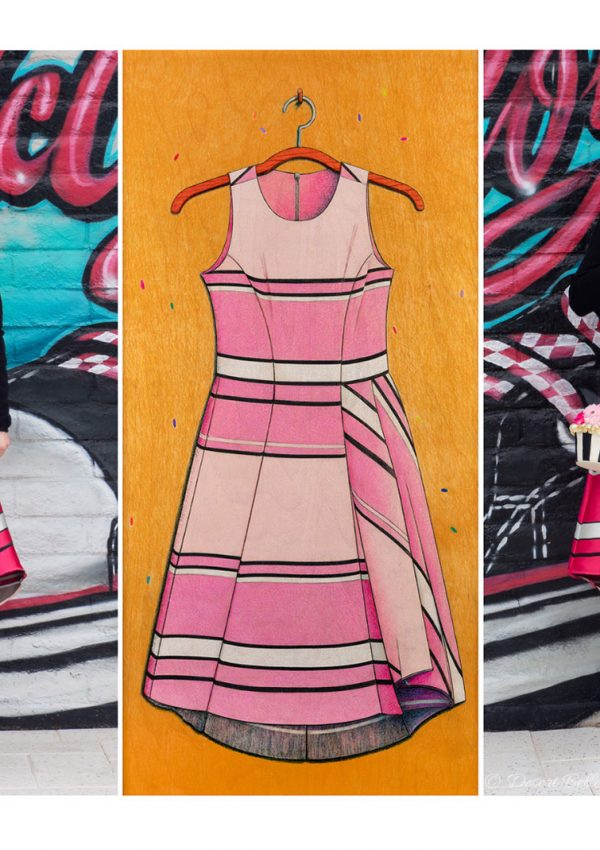 Drawing en Vogue: A Modern Striped Dress