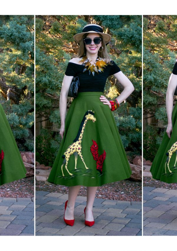 Back to the Fifties Part I: The Wild Kingdom of Novelty Fashion | My Vintage 1950's Fay Foster Felt Appliquéd Giraffe Skirt